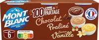 MONT BLANC Crème Dessert Multi Variétés Saveur Vanille/Chocolat/Praliné 6x125g - Prodotto - fr