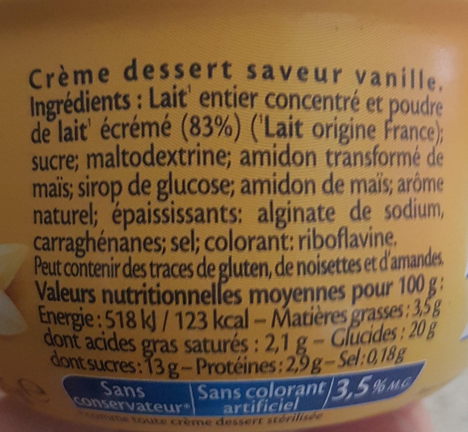 Crème Dessert à La Vanille - Ingredients
