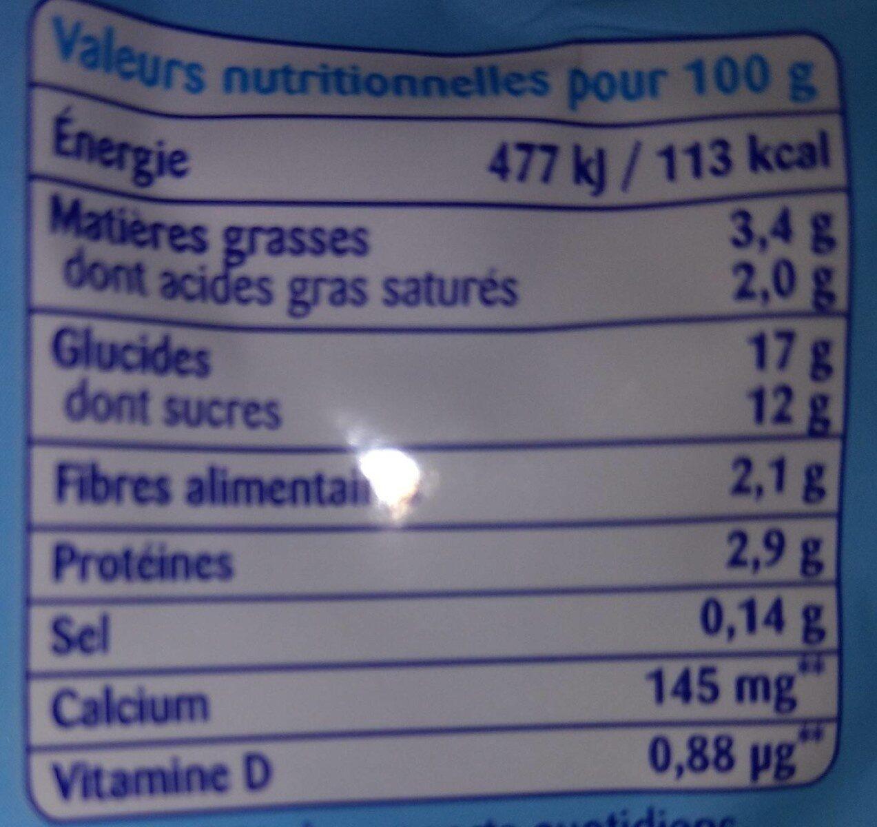 Récré O'lé saveur vanille - Informations nutritionnelles - fr