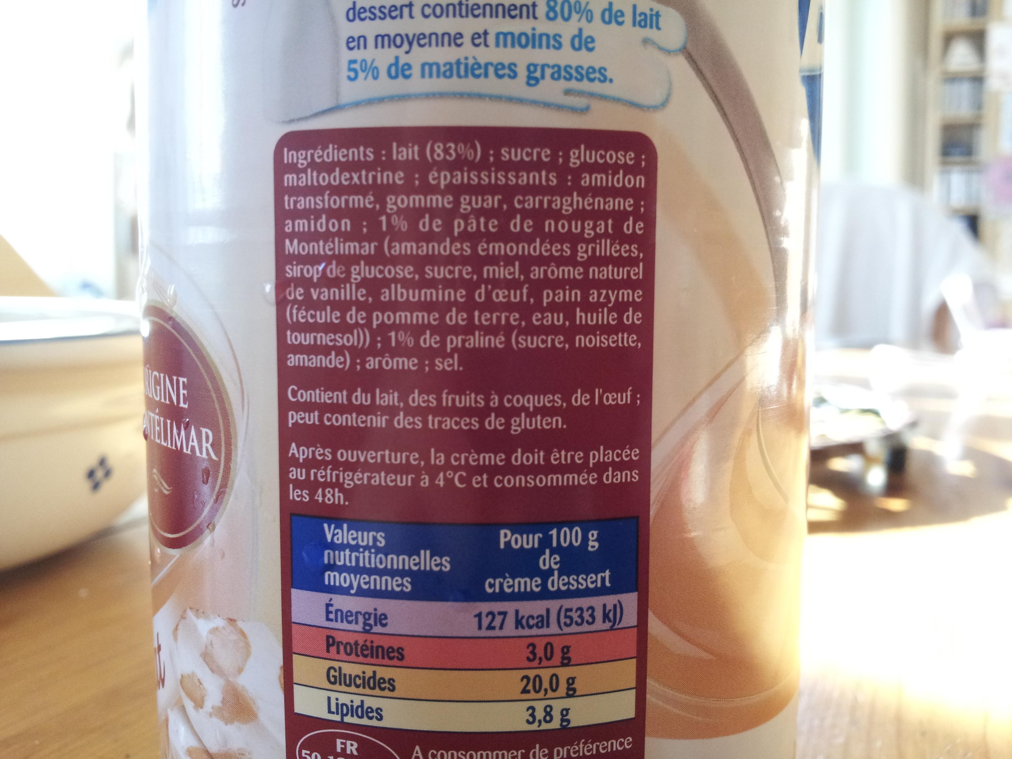 La Crème Dessert A la crème de Nougat - Ingrediënten
