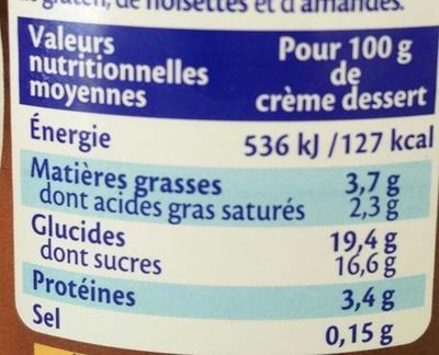 Chocolat extra fin - Valori nutrizionali - fr