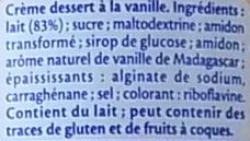 Vanille de Madagascar (3,5 % MG) - Ingrédients - fr
