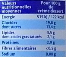 Vanille de Madagascar (3,5 % MG) - Informations nutritionnelles - fr