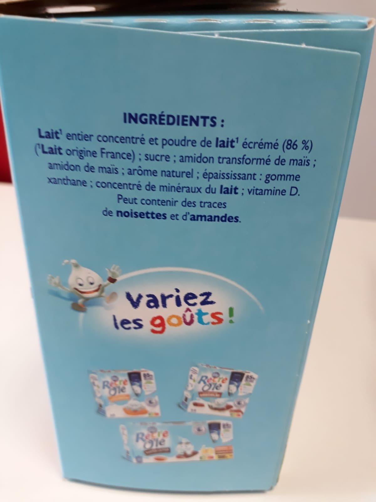RÉCRÉ O'LÉ Saveur Vanille 12x85g - Ingrédients - fr