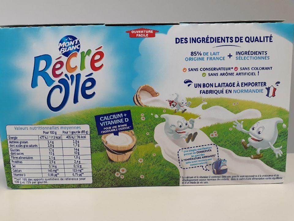 RÉCRÉ O'LÉ Saveur Vanille 12x85g - Informations nutritionnelles - fr