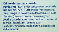 MONT BLANC Crème Dessert Chocolat - Ingrédients - fr