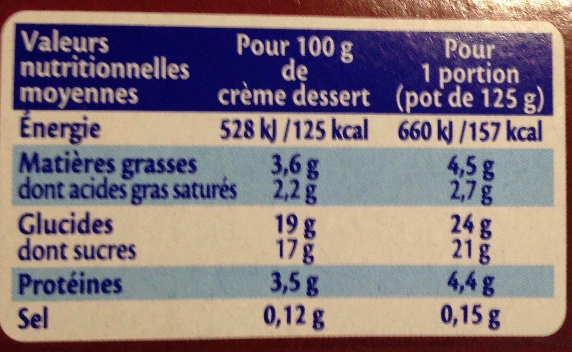 MONT BLANC Crème Dessert Chocolat - Informations nutritionnelles - fr