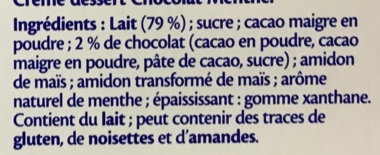 Chocolat Menthe - Ingrédients - fr