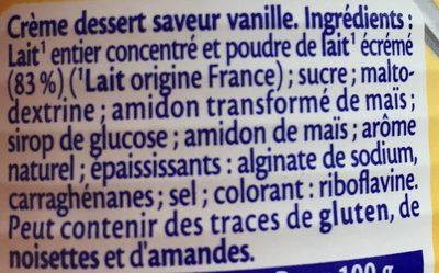 Crème dessert Vanille - Ingrédients