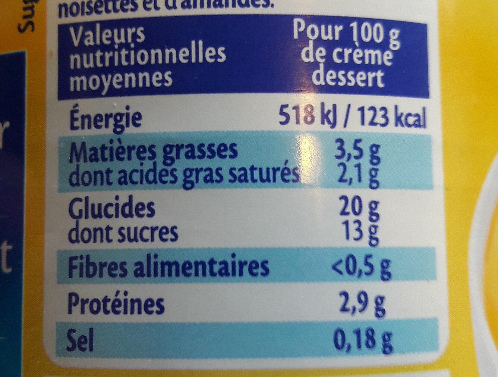 Mont-blanc saveur vanille - Nutrition facts