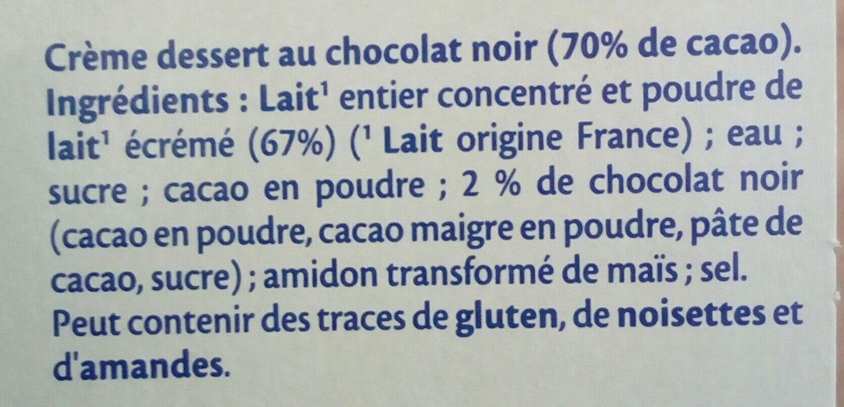 MONT BLANC Crème Dessert Chocolat Noir Extra - Ingrédients - fr