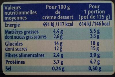 MONT BLANC Crème Dessert Chocolat Noir Extra - Informations nutritionnelles - fr