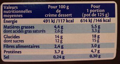 MONT BLANC Crème Dessert Chocolat Noir Extra 6x125g Format Familial - Informations nutritionnelles - fr