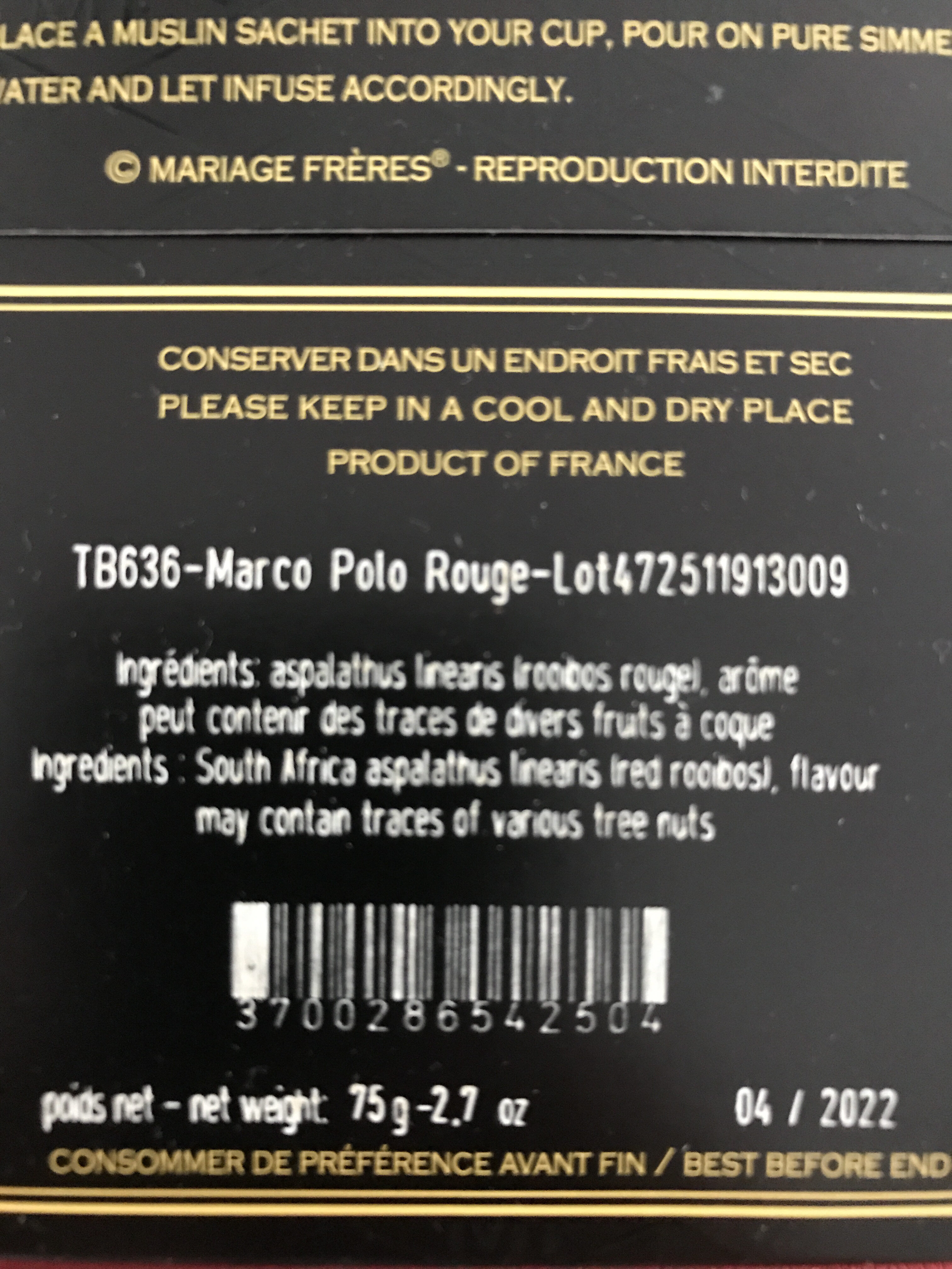 Mariage Freres Marco Polo Rouge Red Tea Bags From France - Informations nutritionnelles - fr