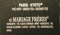 Thé Paris Kyoto - Ingredients