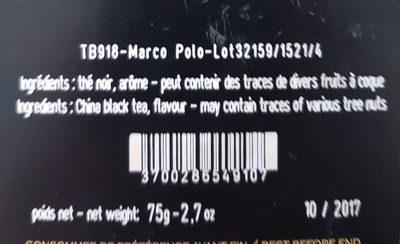 Marco Polo - thé noir en mousselines de coton - Ingrédients - fr