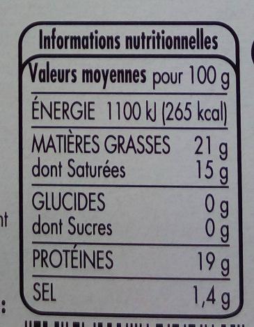 Camembert - Voedingswaarden