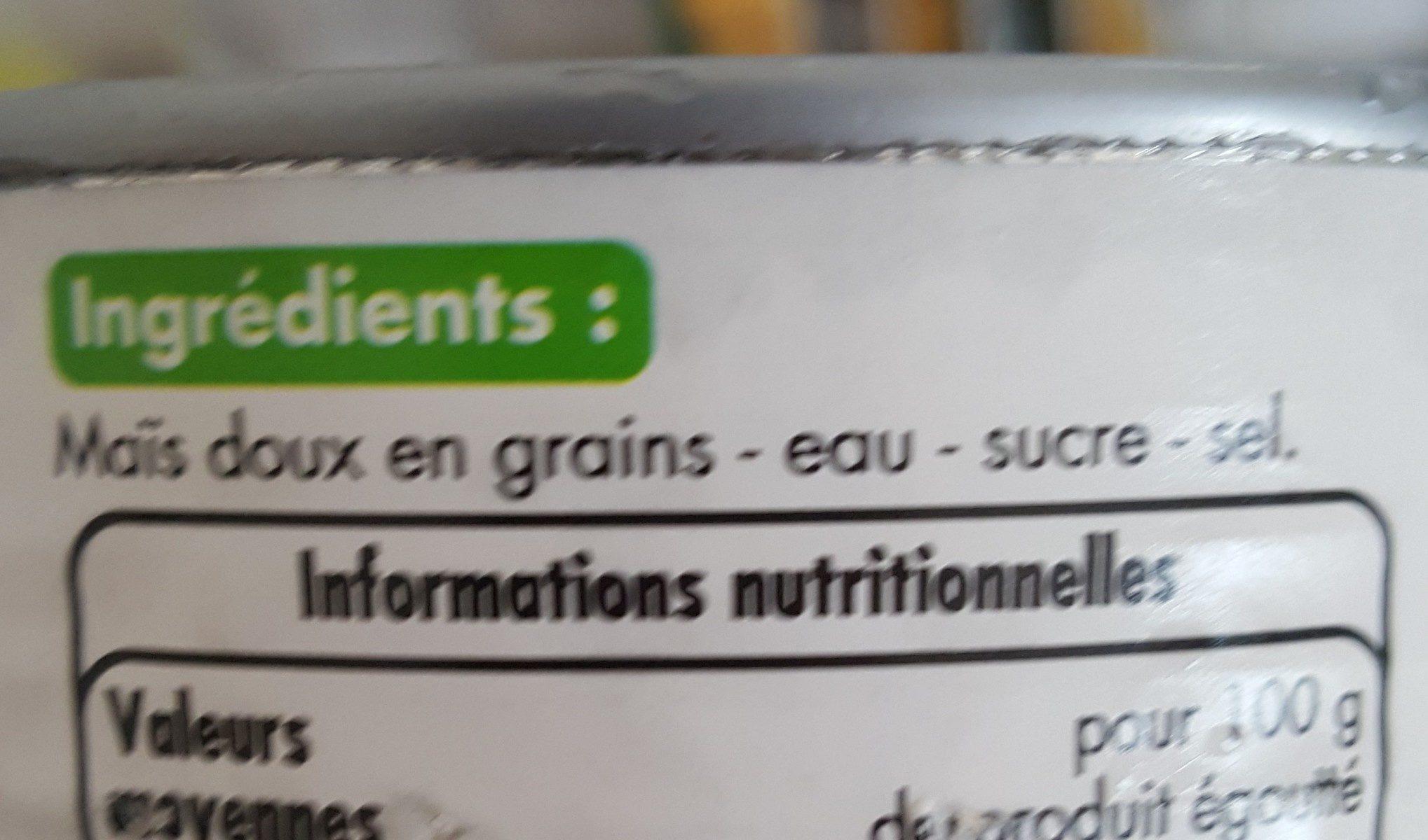 Mais doux en grains sous vide - Ingredients