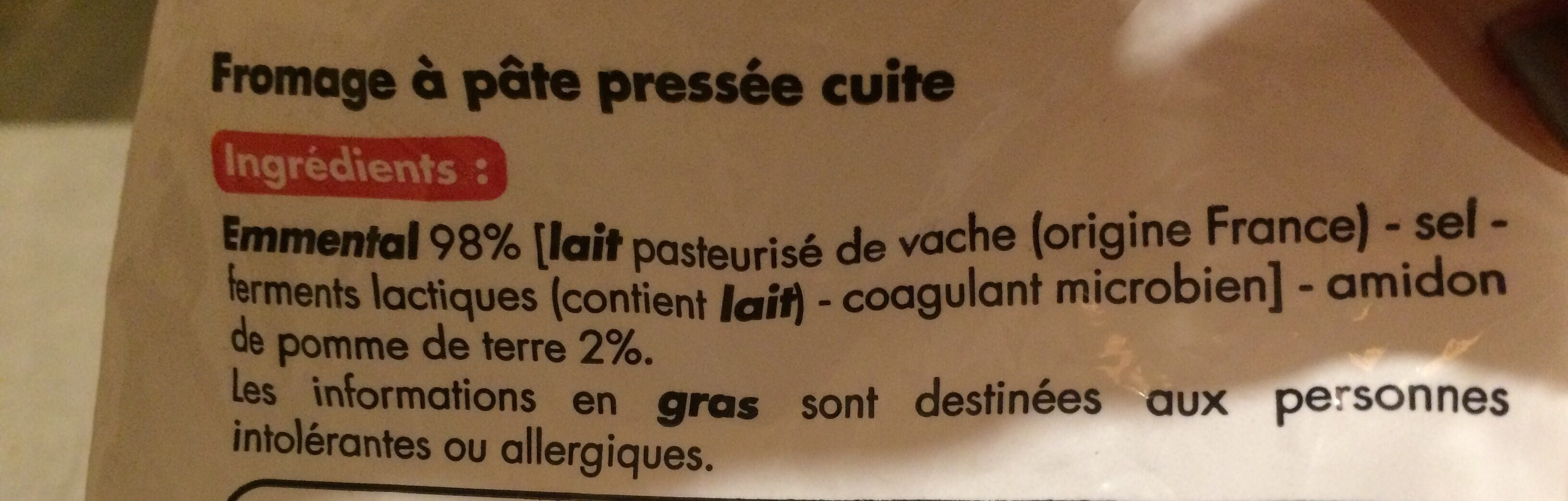 Emmental râpé - Ingredients - fr