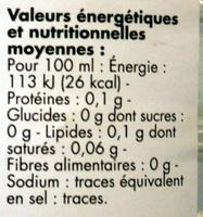 Vinaigre cristal (8% d'acidité) 1,5 litre - Voedigswaarden