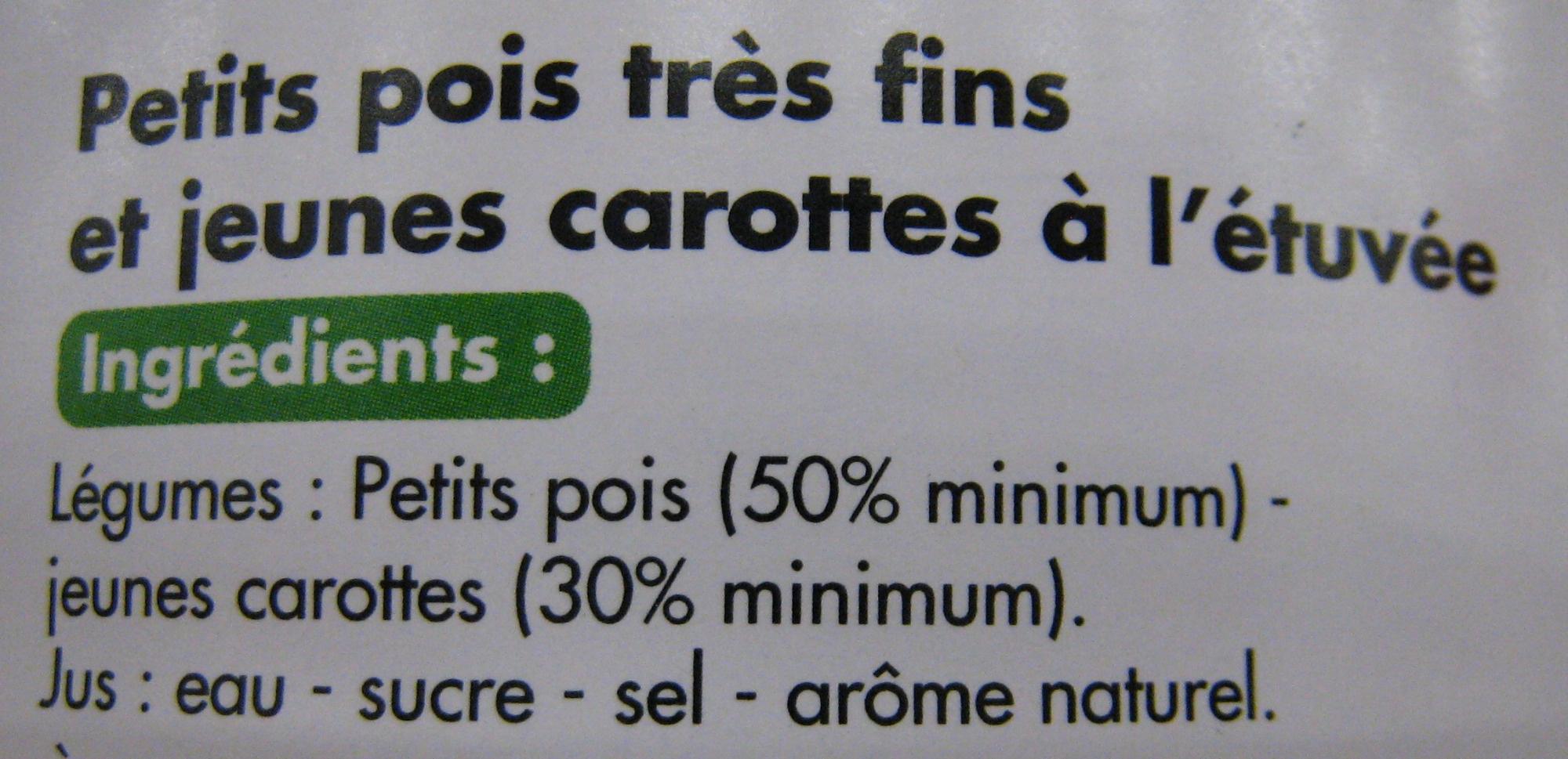 Petits pois très fins jeunes et carottes à l'étuvée - Ingrédients - fr