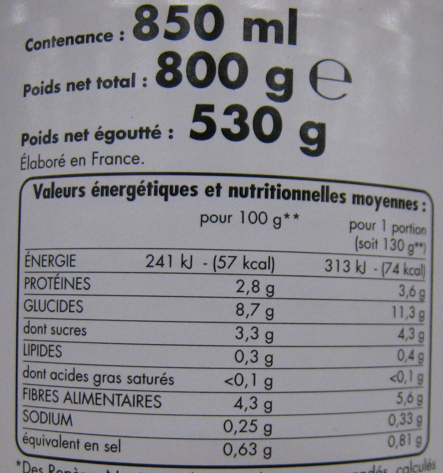 Petits pois très fins jeunes et carottes à l'étuvée - Informations nutritionnelles - fr