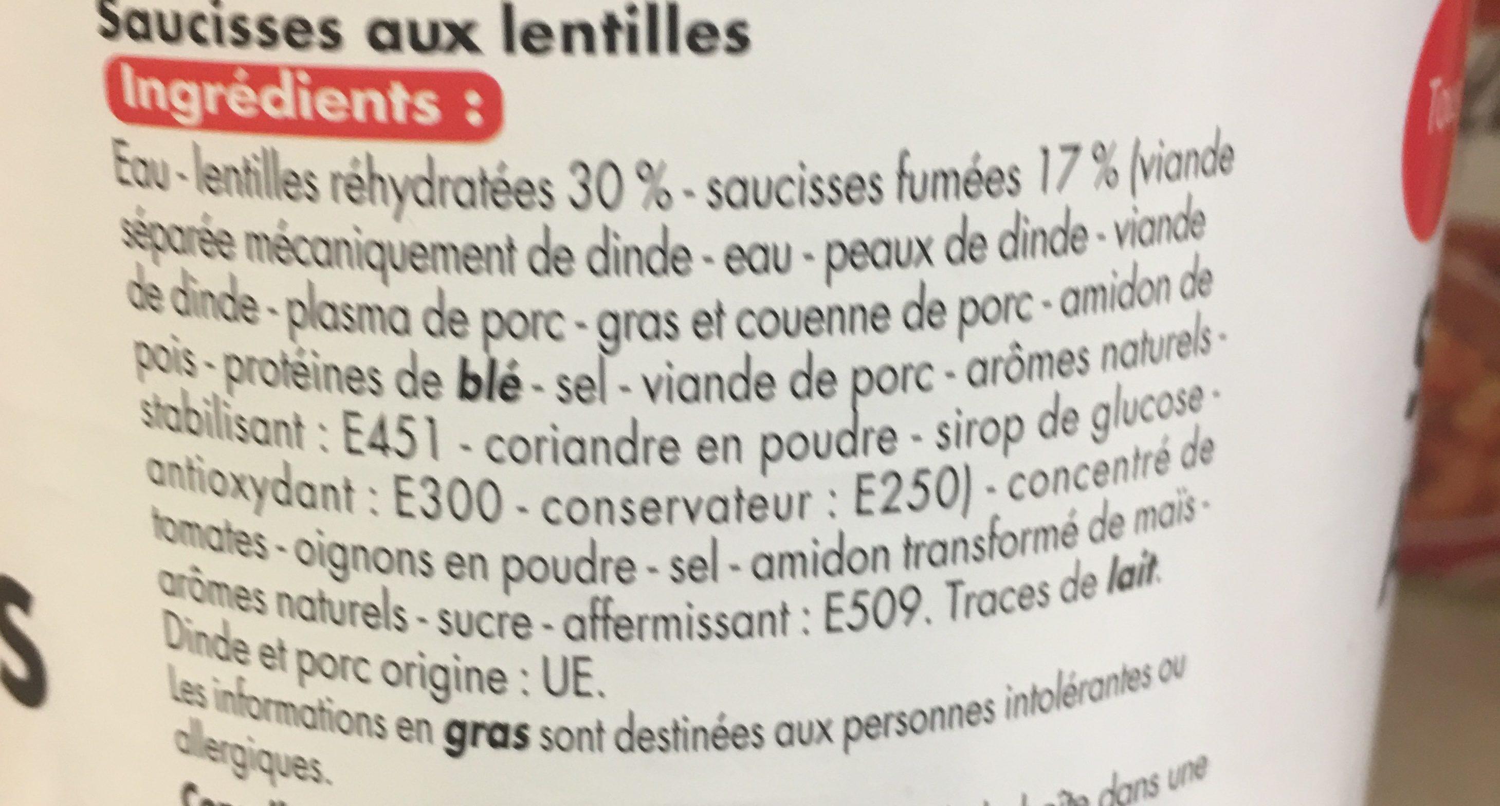 Saucisses aux lentilles - Ingredients