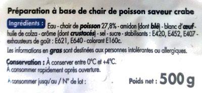 Bâtonnets saveur crabe - Ingrediënten - fr