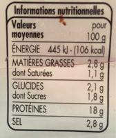 Jambon cuit qualité choix découenné-dégraissé 5 tranches - Informations nutritionnelles