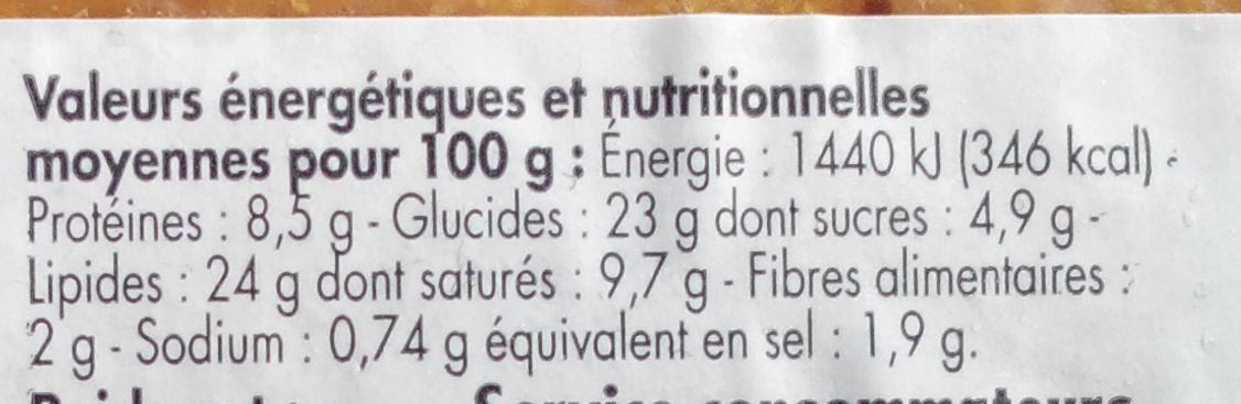 Pâté en croûte cocktail - Voedingswaarden - fr