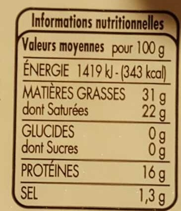 Fromage doux ovale - Nutrition facts - fr