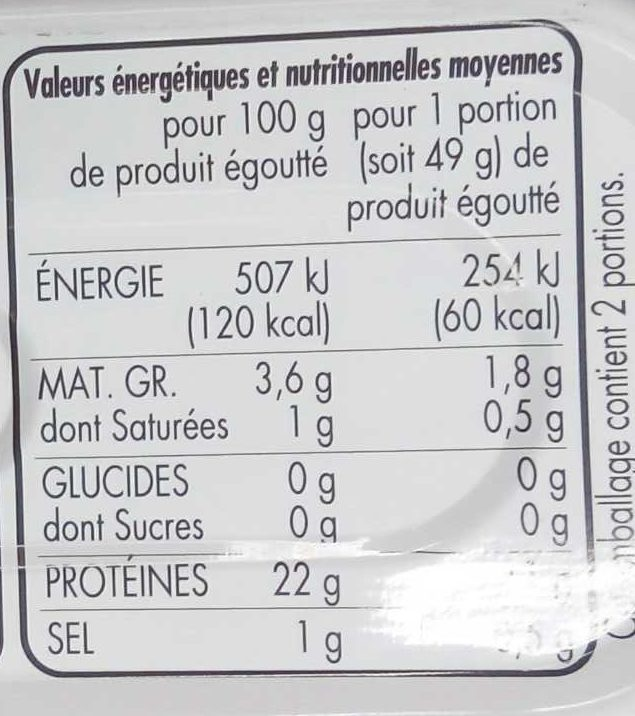 Filets de maquereaux marinés au vin blanc et aux aromâtes - Informations nutritionnelles - fr