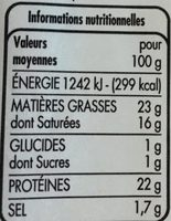 Saint Paulin au lait pasteurisé - Voedingswaarden - fr