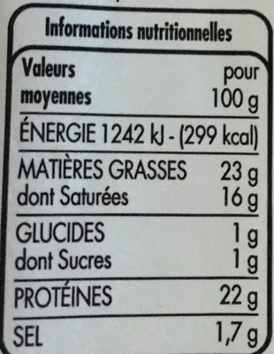 Saint Paulin au lait pasteurisé - Voedingswaarden