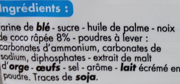 Sablés Noix de Coco - Ingrédients