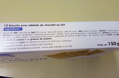 Biscuits avec tablette chocolat au lait - Ingrediënten