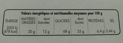 Biscuits avec tablette chocolat au lait - Voedingswaarden