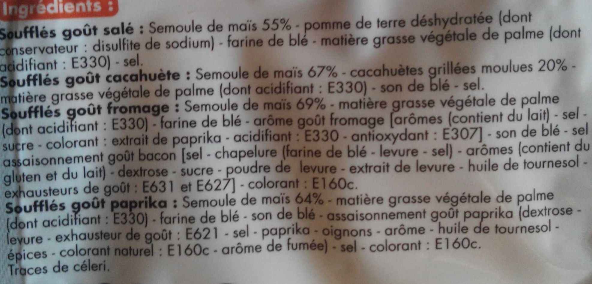 Assortiment soufflés salés - Ingrédients - fr