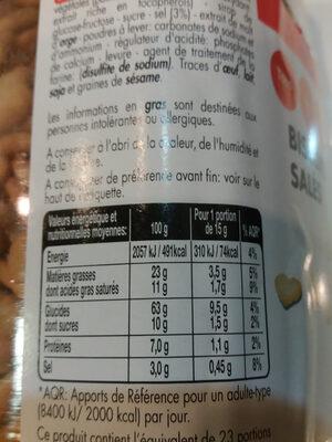 Biscuits salés - Valori nutrizionali