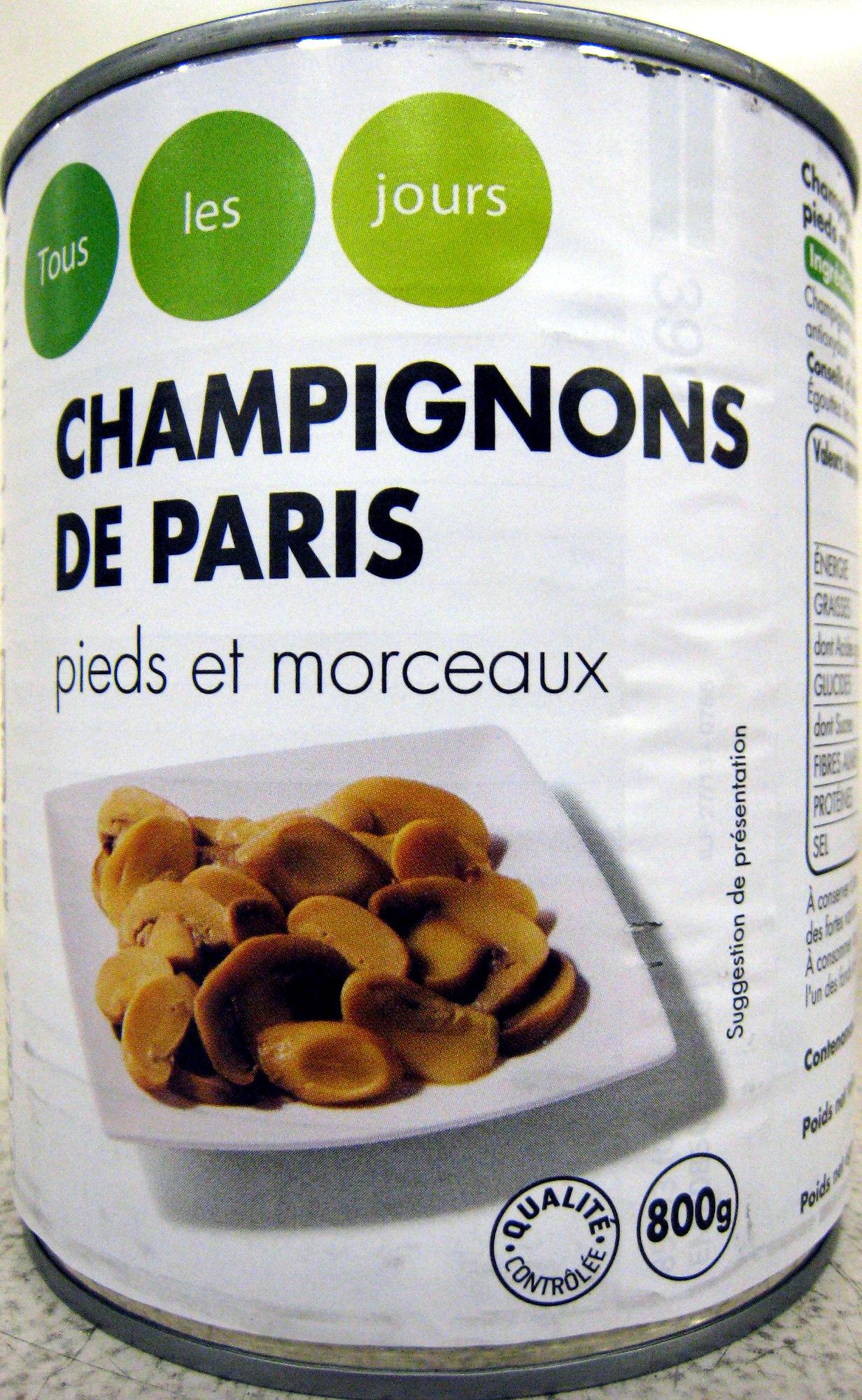 Champignons de Paris pieds et morceaux Tous les jours Casino - Product - fr