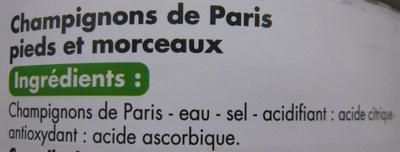 Champignons de Paris pieds et morceaux Tous les jours Casino - Ingrediënten - fr