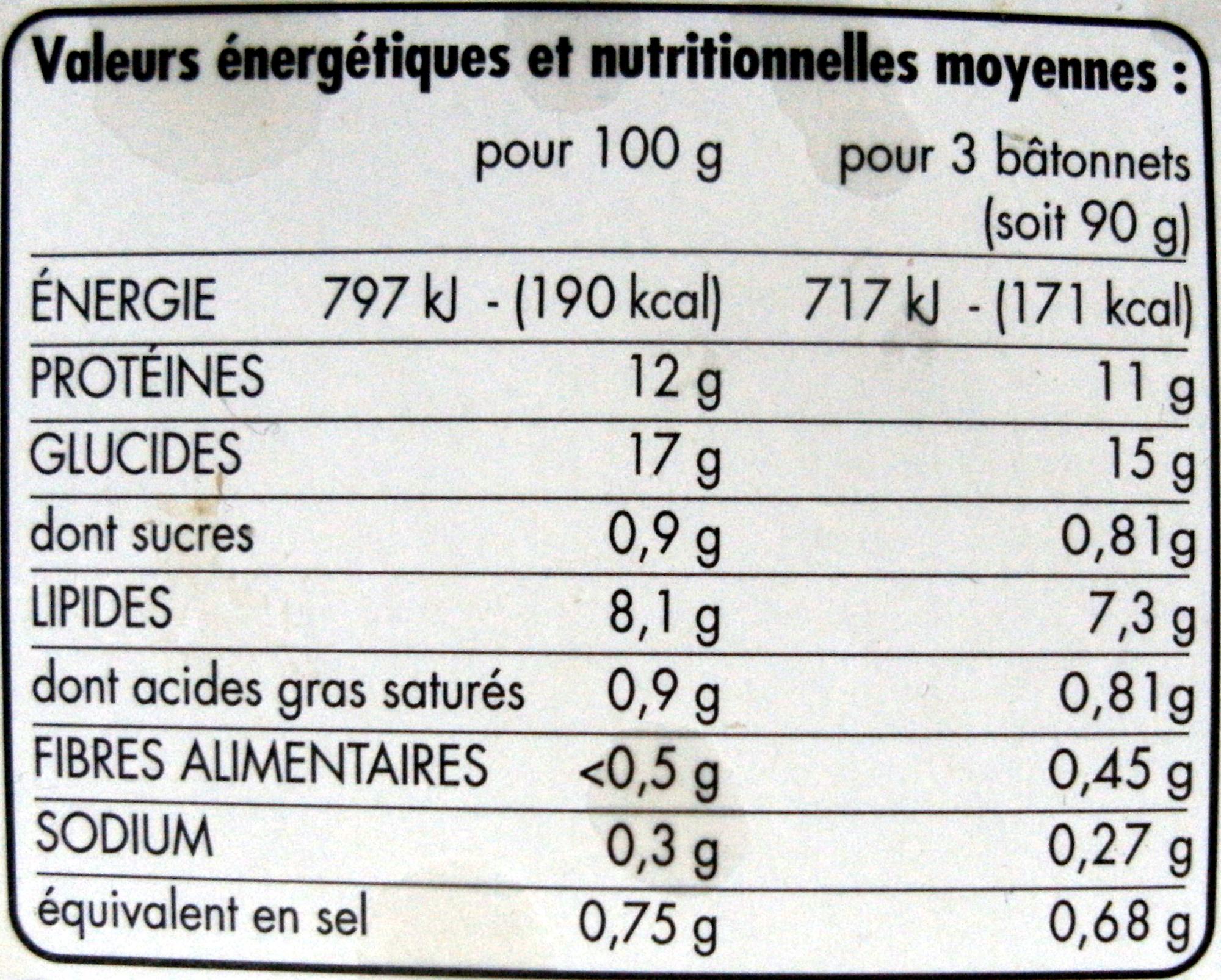 15 bâtonnets panés de poisson surgelés - Informations nutritionnelles - fr
