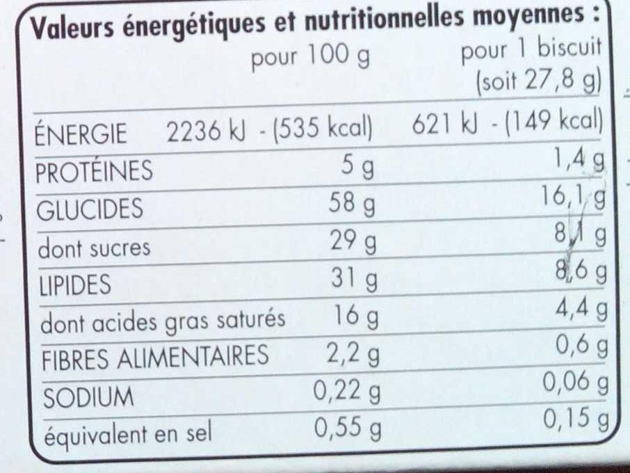 Sprits chocolat au lait - Informations nutritionnelles