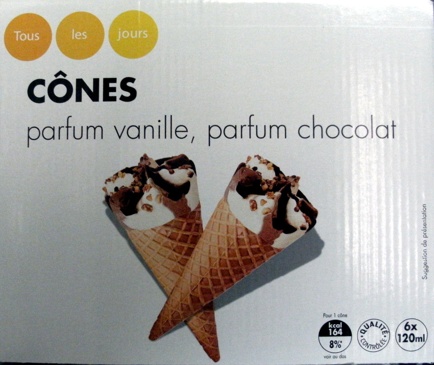 Cônes parfum vanille, parfum chocolat - Produit - fr