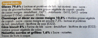 Cônes parfum vanille, parfum chocolat - Ingrédients