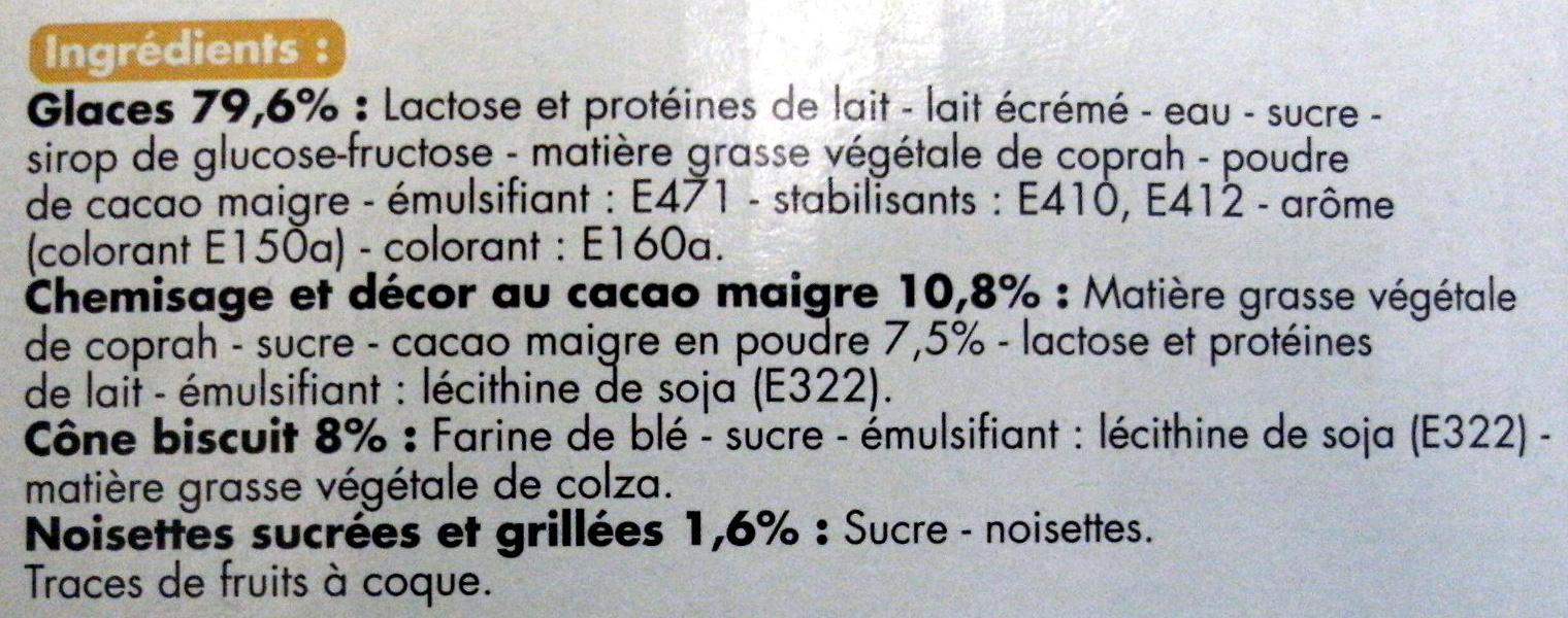 Cônes parfum vanille, parfum chocolat - Ingrédients - fr