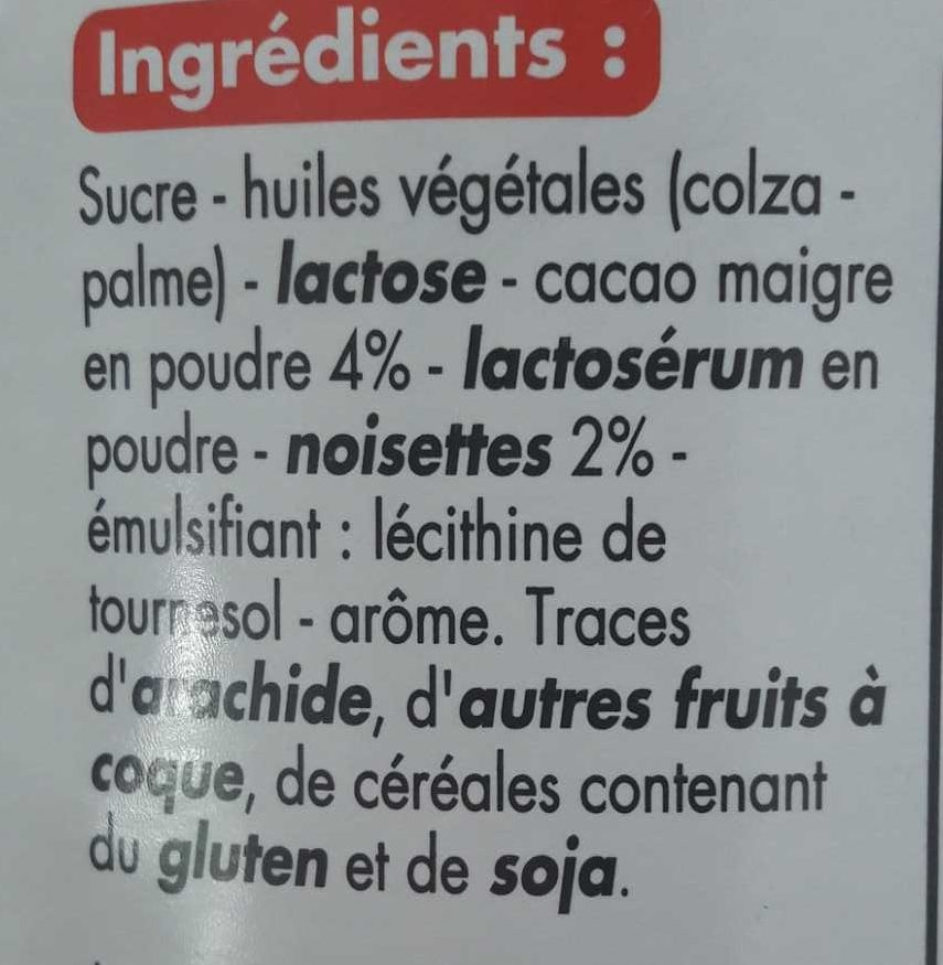 Pâte à tartiner - Ingredients