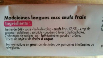 Madeleines longues - Ingrédients - fr