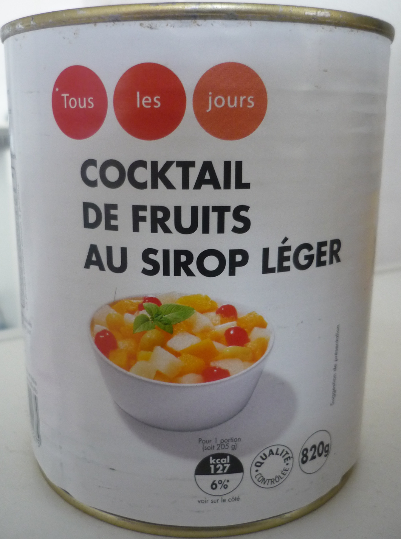 Cocktail de fruits au sirop l ger tous les jours 820 g for Cocktail de fruit