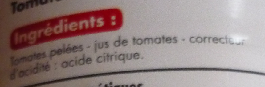 Tomates entières pelées au jus - Ingrediënten - fr